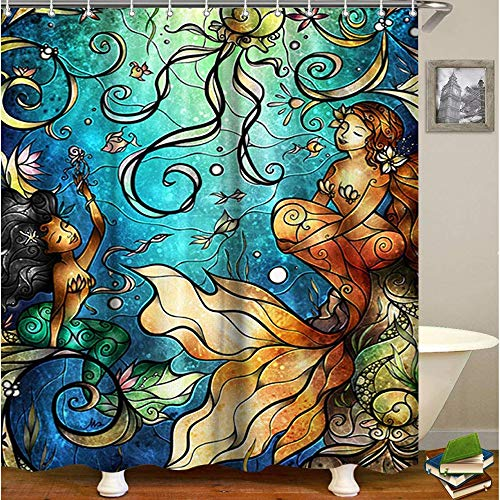 LIVILAN Mermaid Fabric Shower Curtain, Kids Bath Curtain Set with 12 Hooks Privacy Bathroom Curtain for Decoration Polyester Machine Washable 72x72 Inches, Blue (Little Curtain Shower Mermaid)