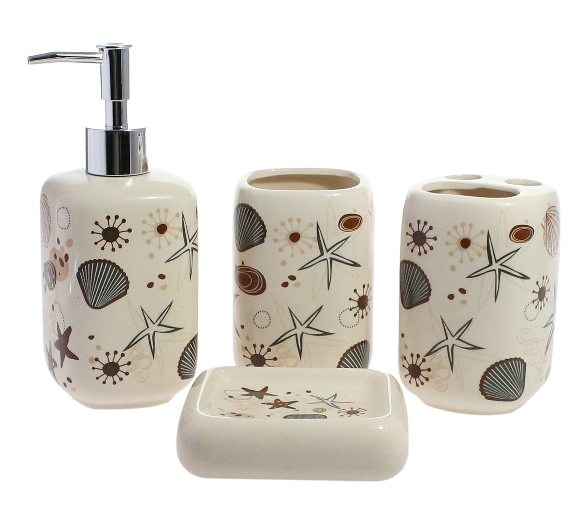 Decorative 4-Piece Ceramic Bathroom Set