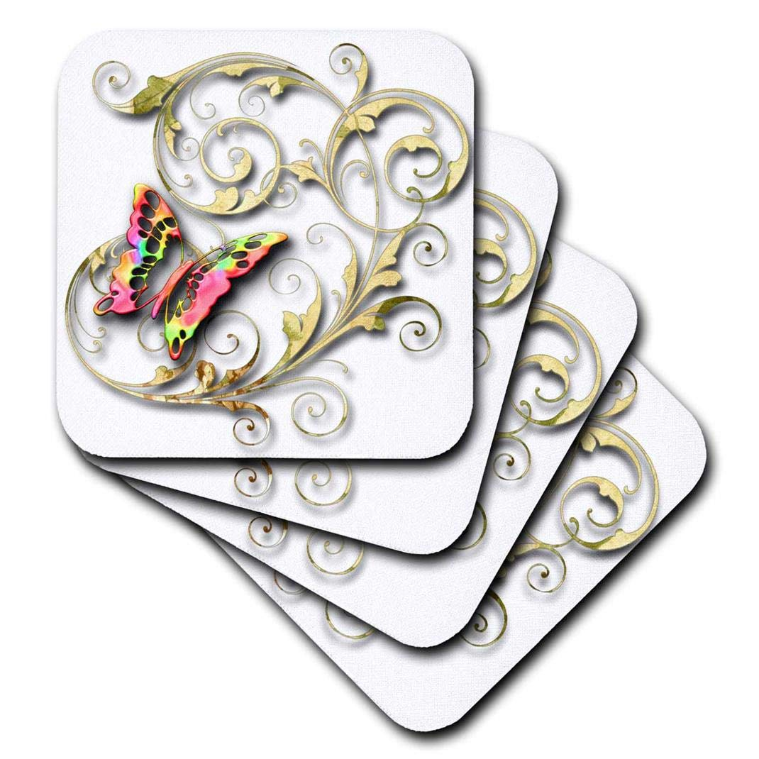 3dRose cst/_167211/_3 Golden Accented Vines and Pretty Multi Colored Butterfly-Ceramic Tile Coasters Set of 4