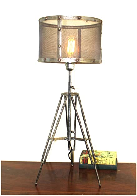 Tripod Table Lamp with Wire Mesh Aged Metal Shade Industrial Factory ...