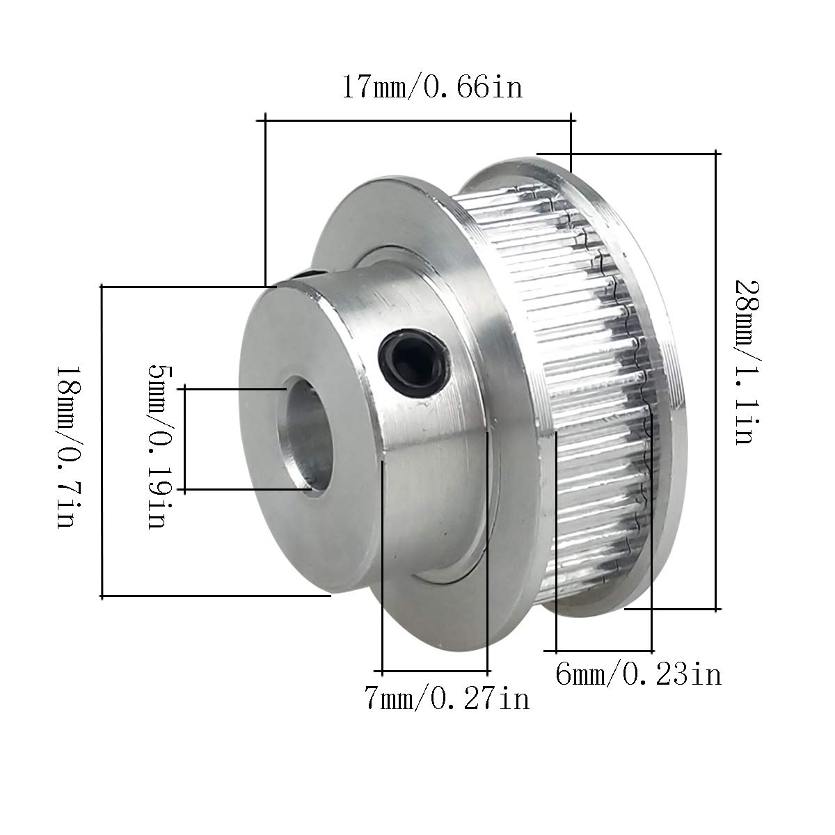 Pack-of-2 GT2 Timing Belt Pulley Synchronous Gear Aluminium Wheel for 3D Printer 40 Teeth 6mm Width 5mm Bore