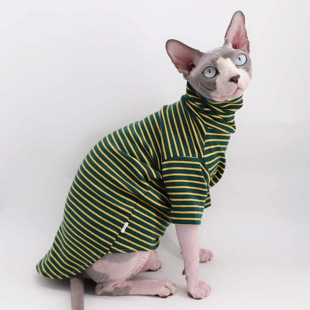 Cats /& Small Dogs Apparel Vintage Stripes Turtleneck Sphynx Hairless Cat Soft Cotton T-Shirts Warm Pet Clothes,Round Collar Vest Kitten Shirts Sleeveless