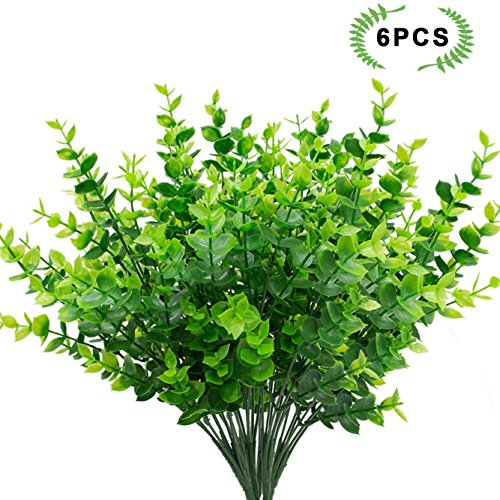 Jomass 6pcs Artificial Shrubs,Fake Plants Plastic Greenery 35 Stems Eucalyptus Leaves Bushes for Verandah,Fence,Garden,Office,Wedding,Indoor and Outdoor decor