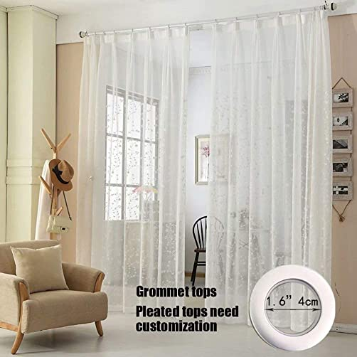 MacoHome Floral Embroidered Sheer Curtains Custom Size Decorative Voile Curtains White Grommet Top 2 Panels Living Room Window Drapes White, 100 W x 102 L