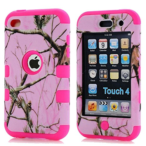 Kecko®Dual Layer Defender Tough Armor Realtree Camouflage Hunting Tree Shockproof High Impact Hybrid Silicon Hard Suitable Fit Camo Case Cover for Girls & Boys For ipod Touch 4 4th Generation (Hard Ipod 4 Cases For Girls)