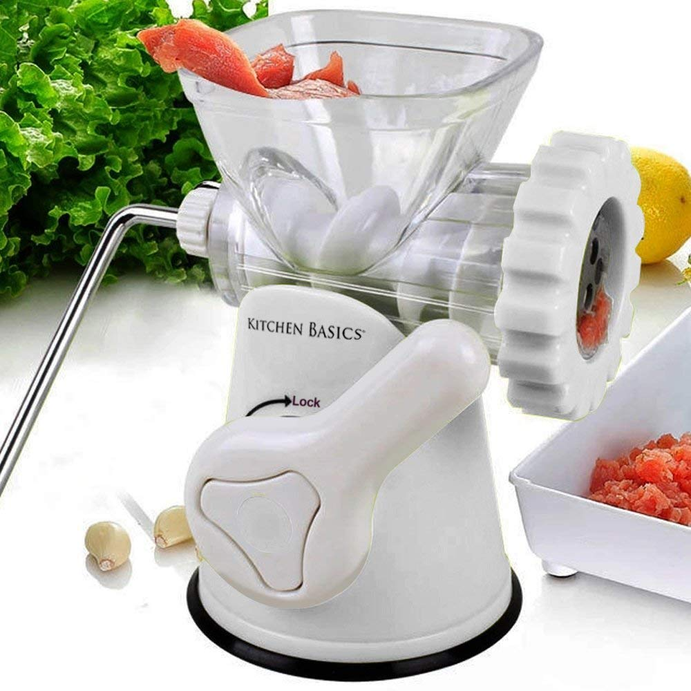 Kitchen Basics 3-In-1 Meat Grinder and Vegetable Grinder/Mincer, 3 Size Sausage Stuffer, Pasta Maker (White) by F&W
