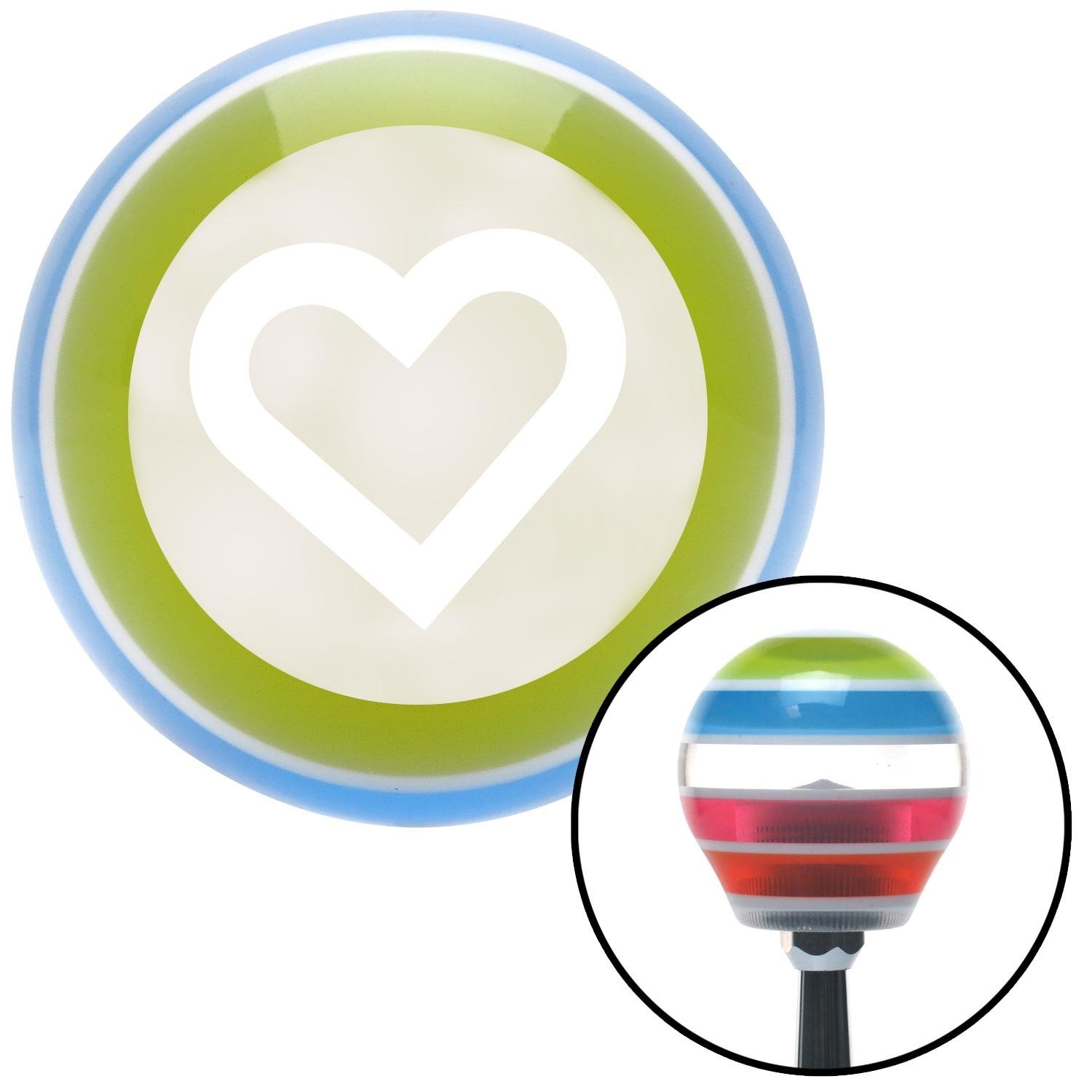 American Shifter 132944 Stripe Shift Knob with M16 x 1.5 Insert White Fat Outlined Heart