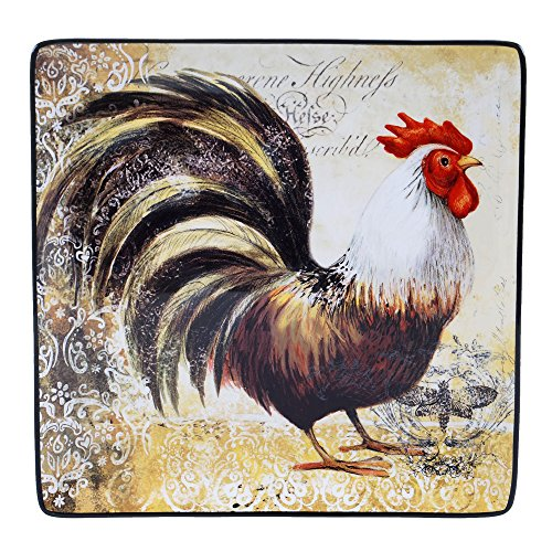 Rooster Square Platter - Certified International 57481 Vintage Rooster Square Platter, 12.25
