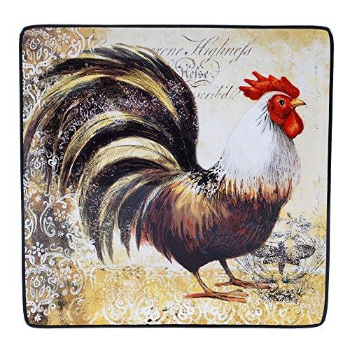 - Certified International 57481 Vintage Rooster Square Platter, 12.25