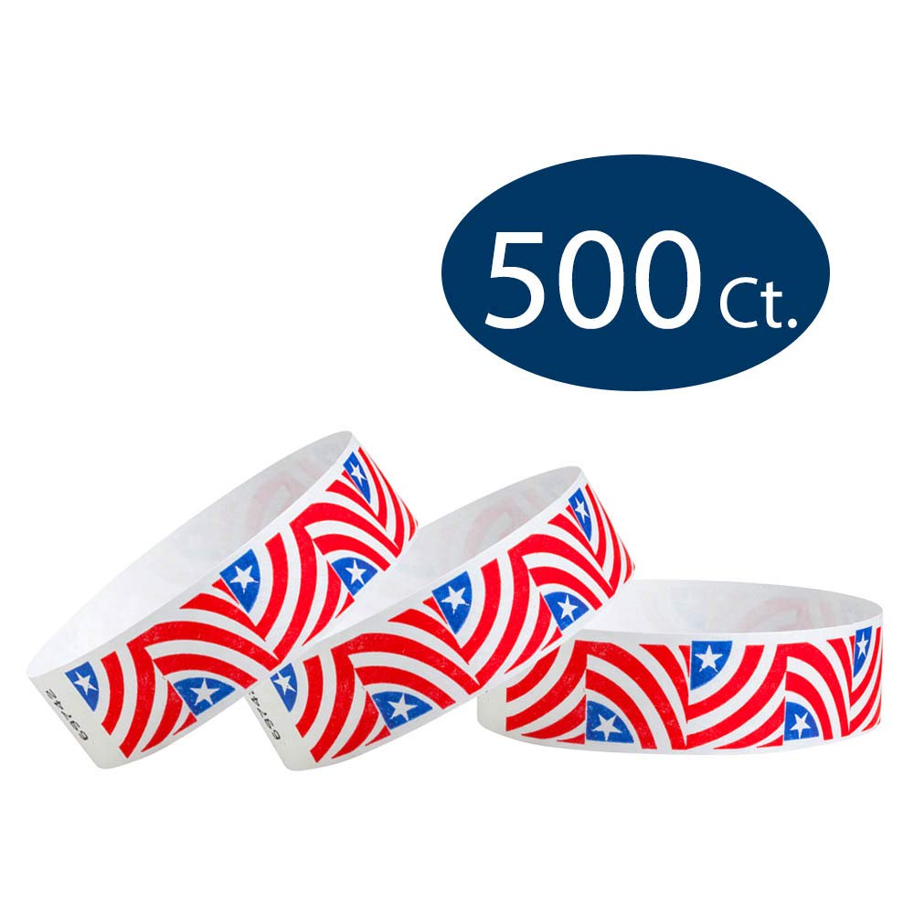 WristCo Stars & Stripes Red, White, and Blue American USA 3/4'' Tyvek Wristbands - 500 Pack Paper Wristbands For Events