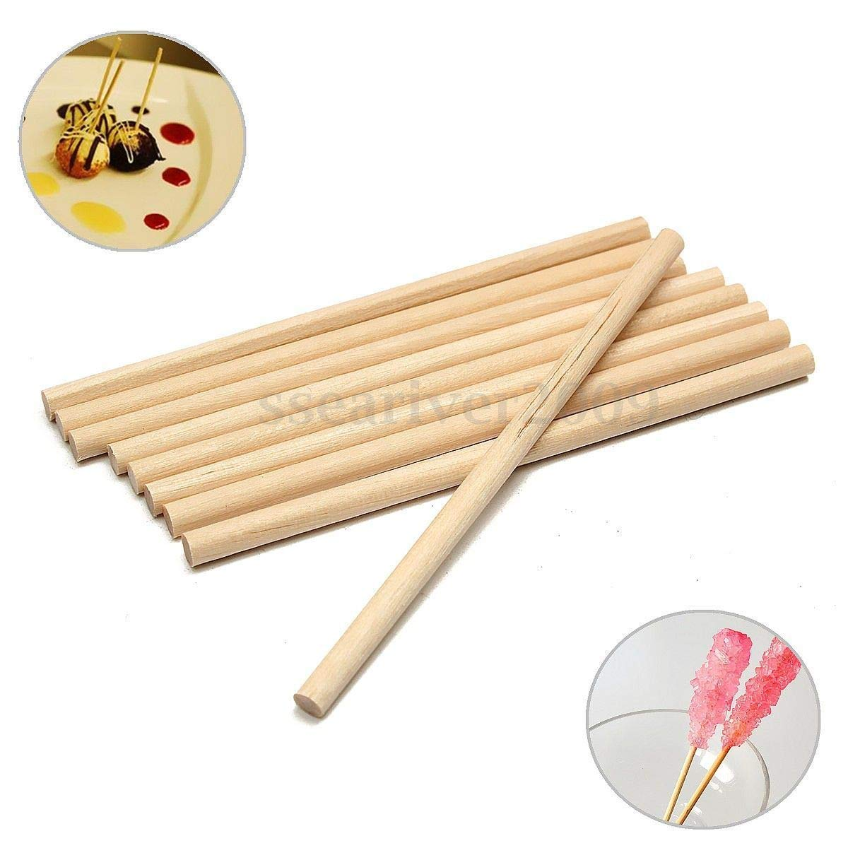 100pcs 100mm Round Wooden Lollipop Lolly Sticks Cake Dowel For DIY Food Craft
