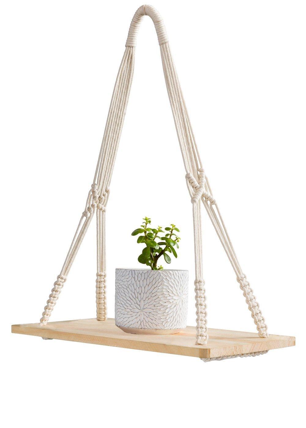 Mkouo mensole da parete con corda in macramè , per appendere piante, mensole sospese, portaoggetti, ripiano in legno per vasi di fiori, cornici per foto, libri, CD