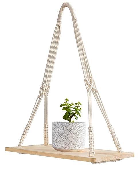 Mkouo macramé pantalla para colgar en la pared estante swing cuerda flotante estantes decoración del hogar