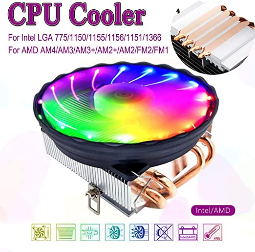 RGB LED CPU Cooler Fan 2 Pipe For Intel LGA 1155//1151//AM3//AM2+//940//Core i3 i5 i7