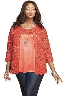 190064934 Jessica London Women s Plus Size Crochet Cardigan Sweater at Amazon ...