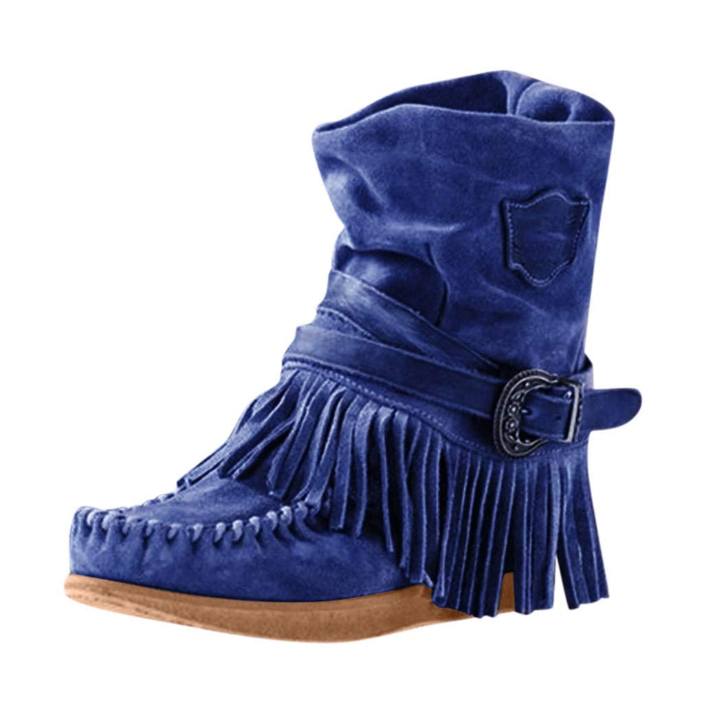 LATINDAY Rome Style Women's Ethnic Ankle Boots Winter Suede Tassel Short Boot Fringe Pleated Boots Blue by LATINDAY ➜ Shoes Accessory