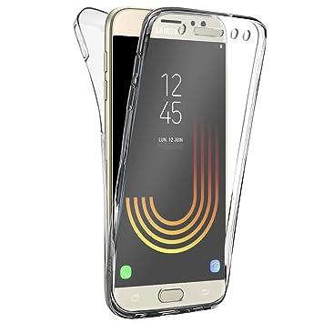 Funda full body Samsung Galaxy J7 2017, BUYUS® Transparente Silicona 360 Grados Carcasa Silicona Funda Case