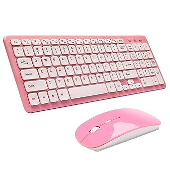 Teclado y Ratón Inalámbrico,SUAVER Teclado Inalámbrico Ergonómico Silencioso Wireless keyboard Mouse(DPI 800