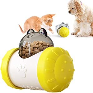 IDOLPET Dog Tumbler Automatic Pet Slow Feeder Treat Tumbler-self-Weight Balance Design Dog Puzzle Toy Treat Dispensing Toy and Interactive Toy for Puppy Cat Food Dispensing IQ Training Toy - Yellow