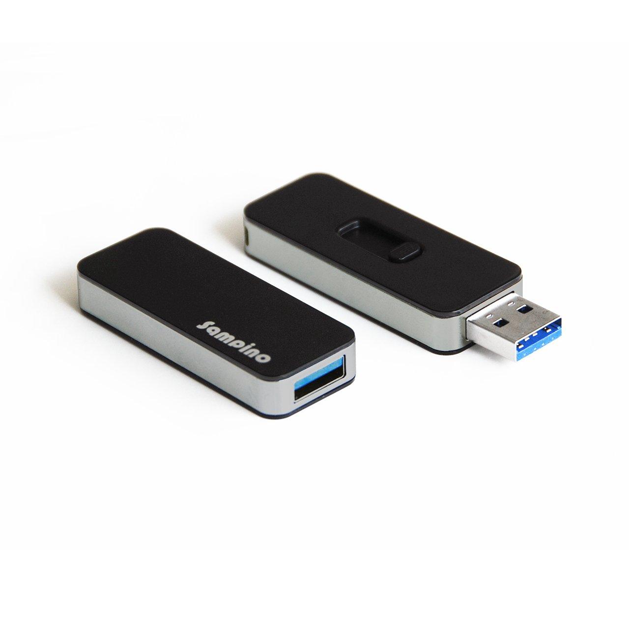 Sampino 16GB USB 3.0 Retractable Capless Flash Drive,Compatible for Windows 8, 7, Vista, XP, Mac (Black)