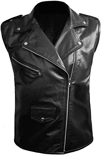 SleekHides Mens Fashion Biker Slim Fit Leather Stylish Vest