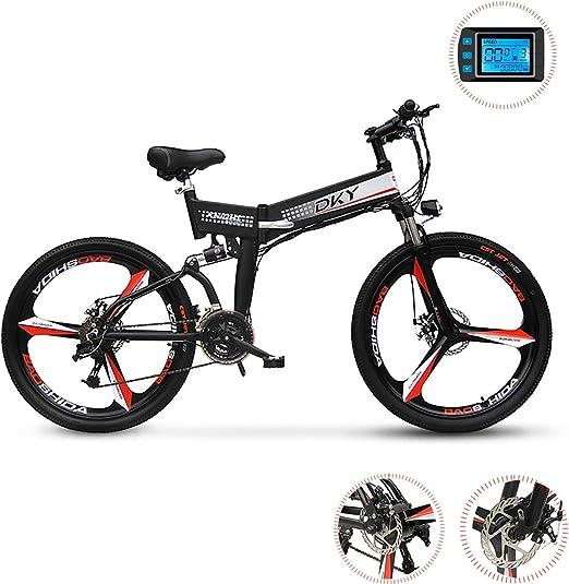 PXQ Bicicleta de montaña eléctrica de 26 Pulgadas, 24 velocidades Plegable E-Bike cercanías de Bicicleta con LED LCD Azul luz Inteligente medidor y Disco Freno, 48V 250W batería de Litio extraíble: Amazon.es: