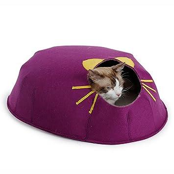 MUJING - Caseta de Fieltro para Mascotas, Gatos, Gatos, Gatos, Gatos, pequeñas, 50 x 47 x 20 cm, Morado: Amazon.es: Deportes y aire libre