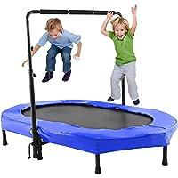 ANCHEER Kindertrampolin, Garten Trampolin für Zwei Kinder Indoor/Outdoor zusammenklappbar mit verstellbarem Handlauf Eltern-Kind-Trampolin Fitness Maximale Gewicht Beträgt 100KG.