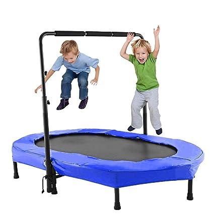 ANCHEER Kindertrampolin, Garten Trampolin für Zwei Kinder Indoor/Outdoor zusammenklappbar mit verstellbarem Handlauf Eltern-K