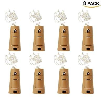 8Pcs Luces para Botellas HTINAC, 75cm Cobre Alambre Cadena LED para Botella de Luz Blanco Cálido Botellas de Vino Luces Adecuado para Producción de ...