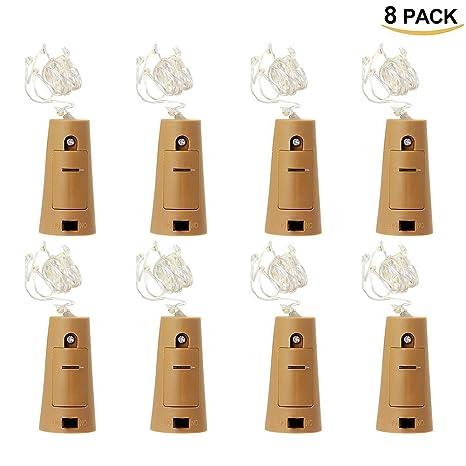 8Pcs Luces para Botellas HTINAC, 75cm Cobre Alambre Cadena LED para Botella de Luz Blanco