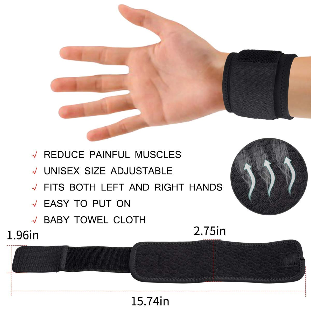 2 PCS Wrist Brace Wrist Compression Strap Sport Wrist Support for Working Out Sport Weightlifting Relief Relief Arthritis, Tendonitis, Sprains - Ergonomic Wrist Guard