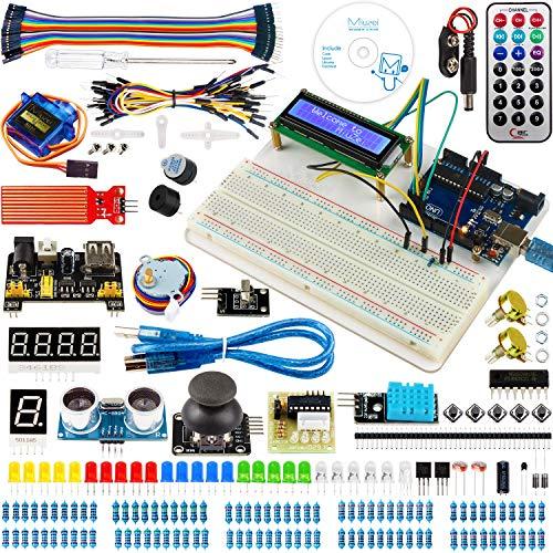 Miuzei for Arduino UNO Starter Kit with Project Tutorials, 5 in 1 Holder, UNO Board, LCD 1602, Servo, Sensors for Arduino UNO R3, Mega2560, Nano (Cases Annotated)