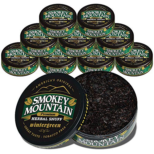 (Smokey Mountain Wintergreen Snuff, 10 Cans, no Tobacco and no Nicotine, Refreshing Herbal and Smokeless Chew Alternative   )