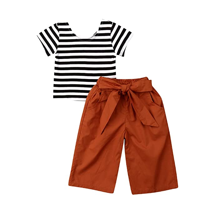 8a01c5e86459 Toddler Baby Girl Clothes Striped Short Sleeve Tops+Long Bow Pants 2PCS Sets  (Baby