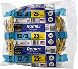 Southwire 63947621 25' 12/3 with ground Romex brand SIMpull residential indoor electrical wire type NM-B, Yellow