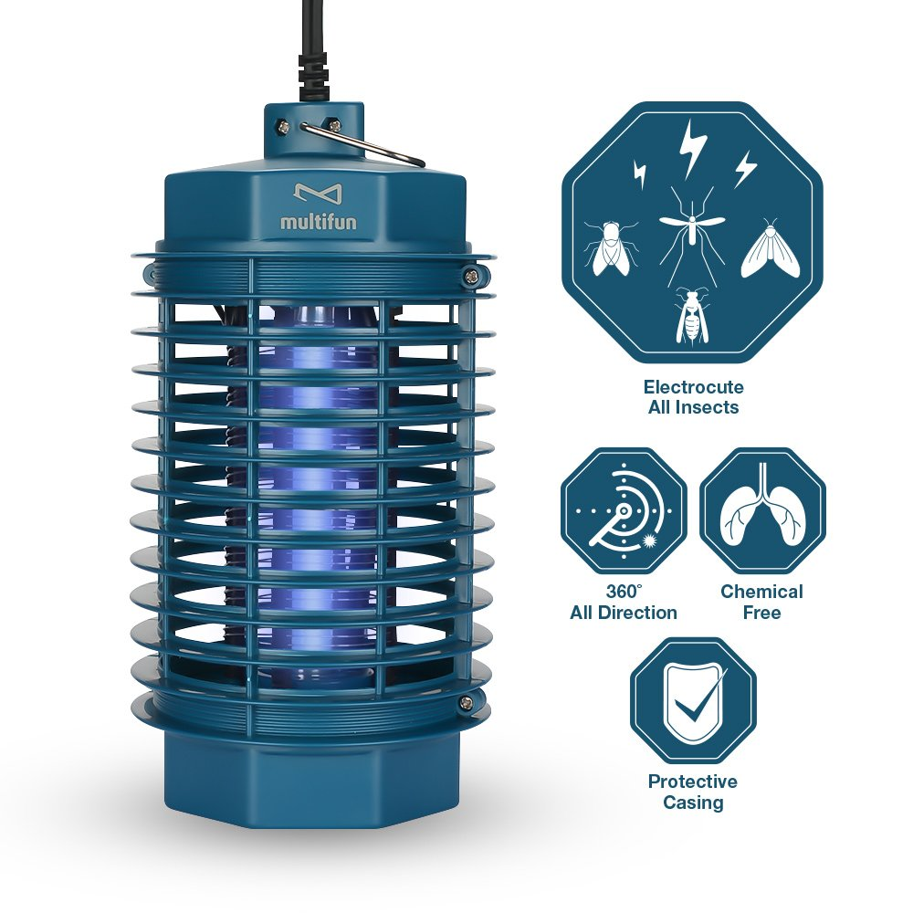multifun Electric Bug Zapper, Electronic Mosquito Killer Fly Trap, Insect Killer with Built-in UV Light Trap Indoor Bug Lamp (Update Version)