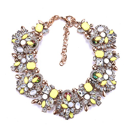 Zthread Bib Statement Necklace Colorful Glass Crystal Collar Choker Necklace for Women Fashion Accessories (Yellow+White)