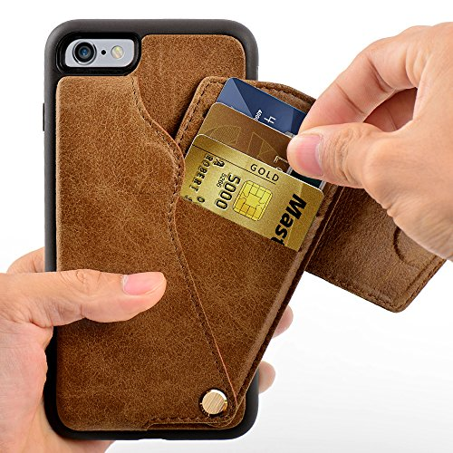 Price comparison product image iPhone 6 plus Wallet Case,  ZVE iPhone 6s plus Card Holder Cases with ID Credit Card Holder Slot,  Protective iPhone 6s plus Leather Case with Wallet for iPhone 6 plus / 6s plus - Brown