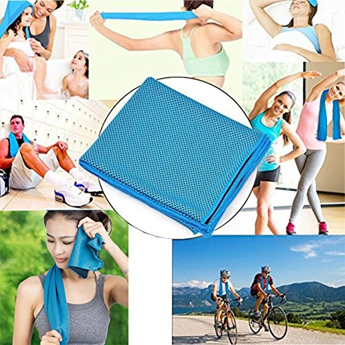 Aosce Cool Towel, 40″x12″ Microfiber Cooling Towel for Instant Cooling Relief in Hot Environment, Ice Towel Stay Cool for Sports and Fitness (Green & Blue) 61PZ rrtbeL