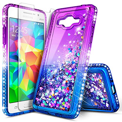 Galaxy Grand Prime Case, J2 Prime with Tempered Glass Screen Protector for Girls Kids Women, NageBee Glitter Liquid Bling Floating Waterfall Cute Case for Samsung Galaxy J2 Prime (G530) -Purple/Blue - Grande Clear Glass Waterfall