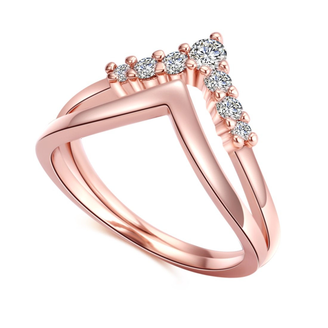 CRARINE Women's Stacking Ring Pave Cubic Zircon Eternity Promise Ring Flower Top Infinity Wedding Band - 1#Rose-gold (6)…