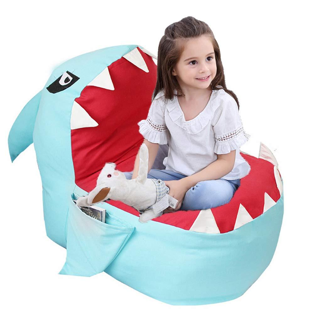 Lmeison Animal Storage Bean Bag Chair, Soft Canvas Plush Toy Organizer, Towels & Clothes Stuffed Storage Bag(No Stuffing) (Blue Shark) by Lmeison
