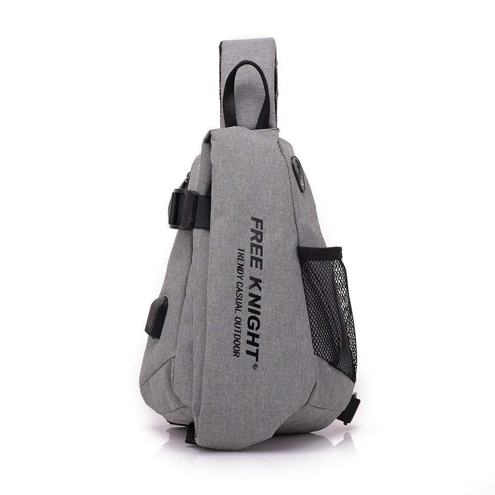 Shoulder Sling Bag for Men,INorton Lightweight Sports Chest Bag,Waterproof Outdoors Crossbody Pack with USB Charging Port,Headphone Hole