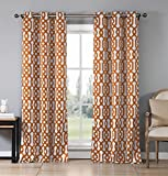 Heavy Insulated Energy Saving Geometric Print Blackout Window Grommet Top Curtains 37 inch Wide by 84 Long (Assorted Colors) Set of 2 Panel Room Darkening Drapes – Orange For Sale
