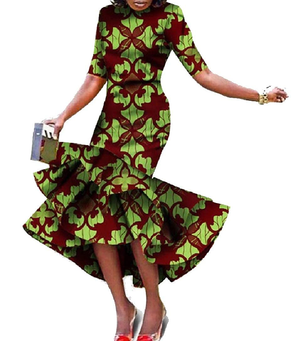Pattern21 Winme Women Ethnic Ball Gown African Style Irregular ShortSleeve Long Dress