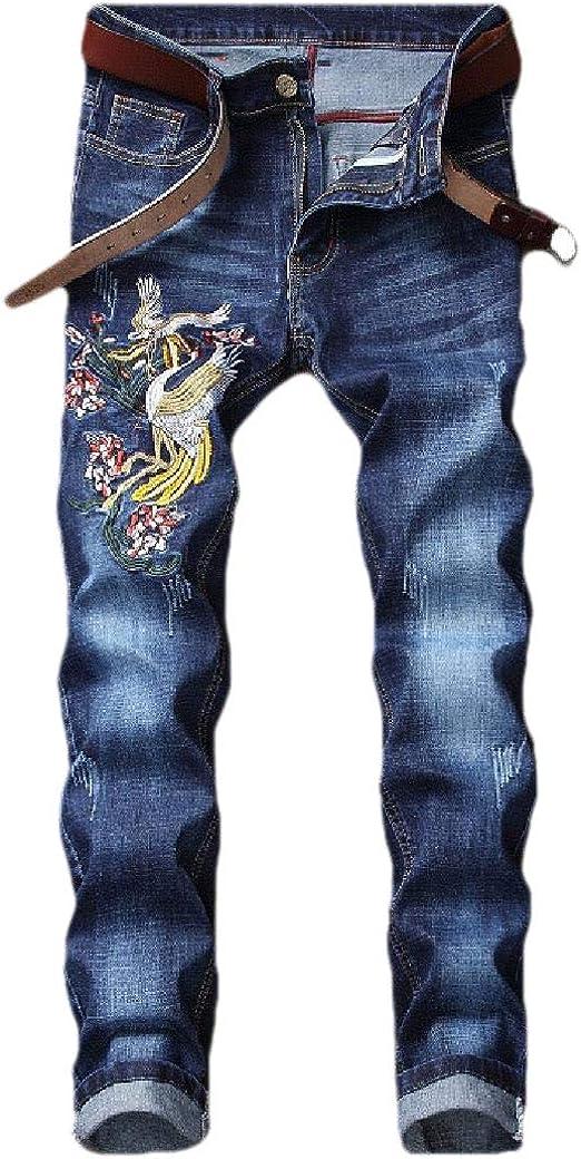 Romancly メンズ刺繍ポケット ミッドウエストウォッシュド カジュアルストレートレッグパンツ
