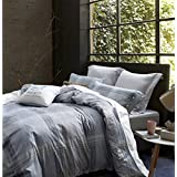 UFO Home Printed Duvet Cover Set, 250 Thread Count, 100% Cotton Sateen, Inside Ties, Comfortable, Soft Durable, 3pc Bedding Set, Grey Plaid, King Size (King, Grey Plaid)