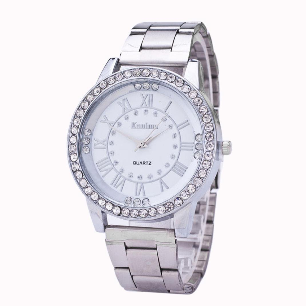 Pandaie Watch Promotion! Women's Men's Crystal Rhinestone Stainless Steel Analog Quartz Wrist Watch (Silver) by Pandaie (Image #1)