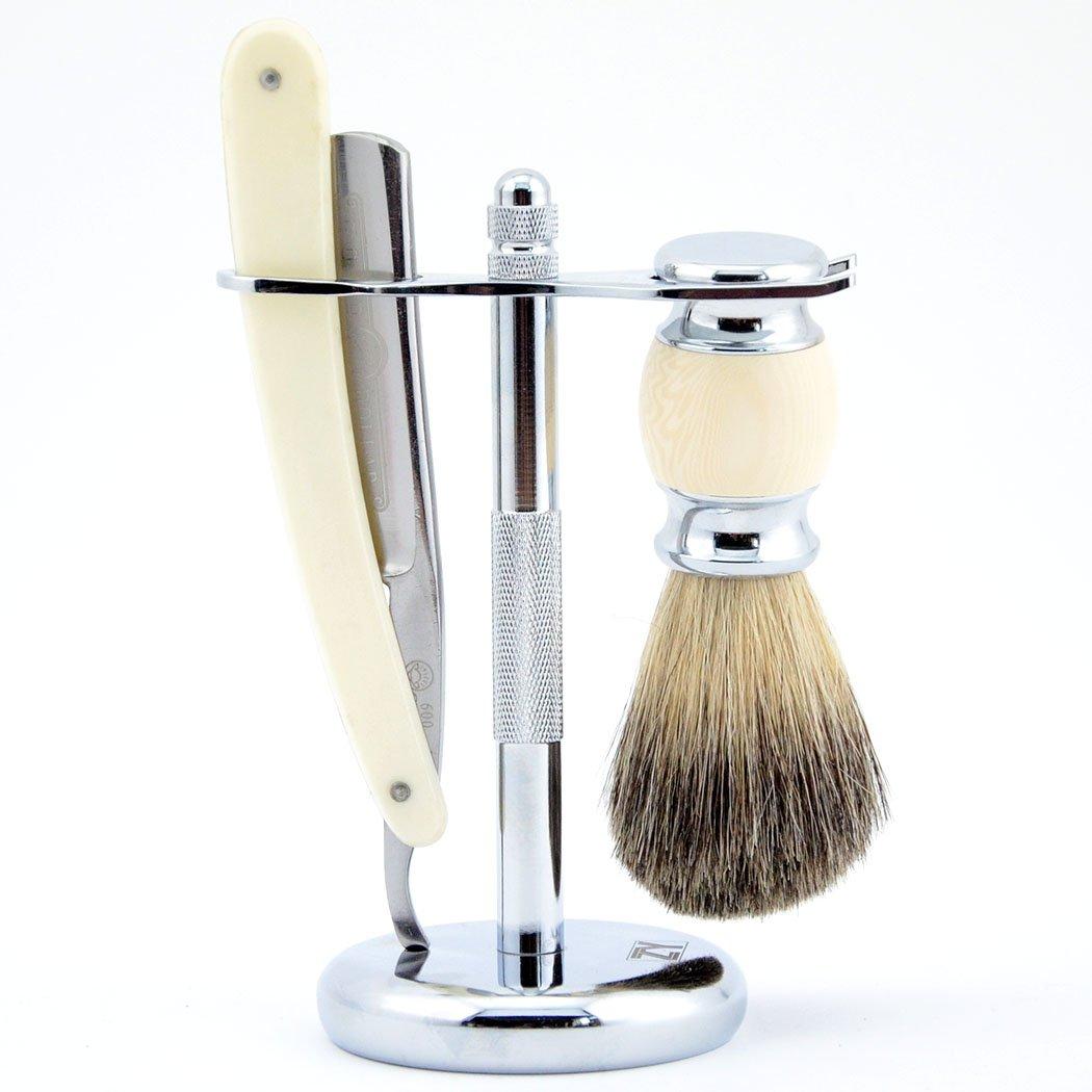 Wet Shaving Kit Straight Razor GDL 600 Cut Throat Alloy Stand Pure Badger Brush